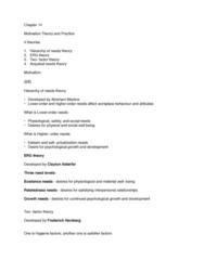 ADM 1300 Lecture Notes - Lecture 2: Clayton Alderfer, Frederick Herzberg, Abraham Maslow