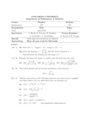 MATH 203 Study Guide - Final Guide: Inverse Function, Liquid Oxygen, Chain Rule
