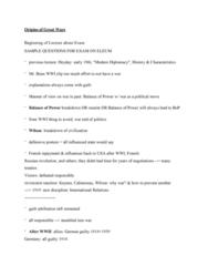 Political Science 1020E Quiz: Origins of Great Wars