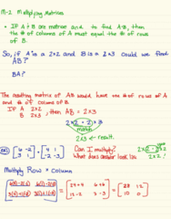 MA 105 Chapter 2: M-2 Multipling Matrices
