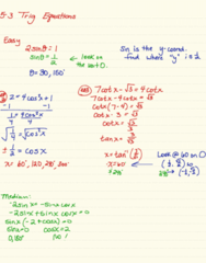 MA 105 Lecture 20: 5-3 Trig Equations