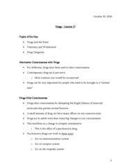 PSYO 1011 Lecture Notes - Lecture 17: Psychoactive Drug, Neurotransmitter, Reuptake