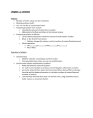 CHEM-C 101 Lecture Notes - Lecture 32: Stoichiometry, Molar Concentration, Chemical Equation
