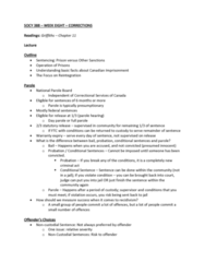 SOCY 388 Lecture Notes - Lecture 8: Parole Board Of Canada, Day Parole, Department Of Justice And Correctional Services