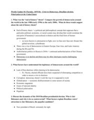 GOV 312L Study Guide - Midterm Guide: Brazilian General Election, 2018, Jair Bolsonaro, Sociocultural Evolution