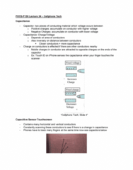 PHYS-P 150 Lecture Notes - Lecture 34: Touch Id, Capacitor, Touchscreen