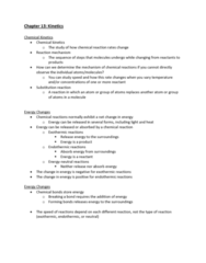 CHEM-C 101 Lecture Notes - Lecture 34: Chemical Kinetics, Substitution Reaction