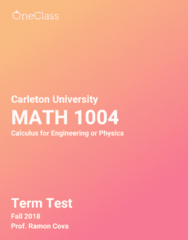 MATH 1004 Study Guide - Fall 2018, Comprehensive Term Test Notes -