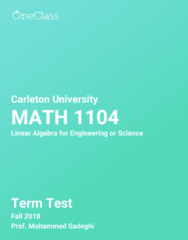 MATH 1104 Study Guide - Fall 2018, Comprehensive Term Test Notes - Positive-Definite Matrix, Btec Extended Diploma, Animorphs