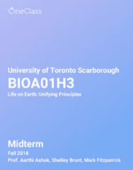 BIOA01H3 Study Guide - Fall 2018, Comprehensive Midterm Notes - Evolution, Natural Selection, Genetics