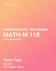 MATH-M 118 Study Guide - Fall 2018, Comprehensive Term Test Notes -