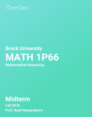 MATH 1P66 Study Guide - Fall 2018, Comprehensive Midterm Notes -