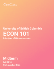 ECON 101 Study Guide - Fall 2018, Comprehensive Midterm Notes -