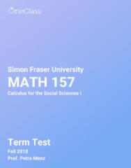 MATH 157 Study Guide - Fall 2018, Comprehensive Term Test Notes - Fish Measurement, Scion Tc, Master Of Arts