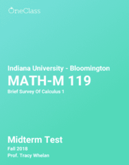 MATH-M 119 Study Guide - Fall 2018, Comprehensive Midterm Notes - Microsoft Powerpoint, Graph Of A Function, Tangent