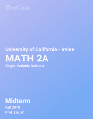 MATH 2A Study Guide - Fall 2018, Comprehensive Midterm Notes - Graph Of A Function, Integer, Transcendentals