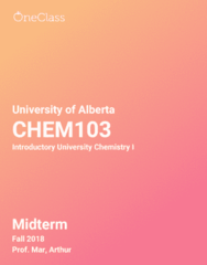 CHEM103 Study Guide - Fall 2018, Comprehensive Midterm Notes -