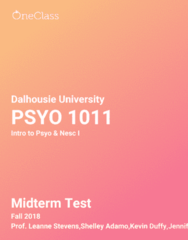 PSYO 1011 Study Guide - Fall 2018, Comprehensive Midterm Notes - Neurotransmitter, Hypothalamus, Hippocampus