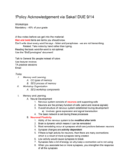01:119:115 Lecture Notes - Lecture 1: Neuroplasticity, Signal Transduction