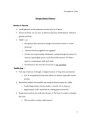 PSYO 1011 Lecture Notes - Lecture 20: Spatial Memory, Temporal Lobe, Grid Cell