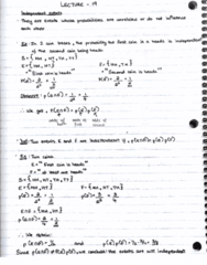 MAT133Y5 Lecture 19: Independent events, inclusions and exclusions in probability