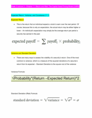FINA601 Lecture Notes - Lecture 3: Capital Asset Pricing Model, Squared Deviations From The Mean, Standard Deviation