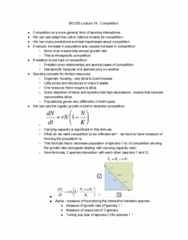 BIO205H5 Lecture Notes - Lecture 18: Logistic Function, Intraspecific Competition, Carrying Capacity