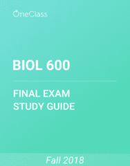 BIOL 600 Study Guide - Comprehensive Final Exam Guide - Wireless Access Point, Oxygen, Protein