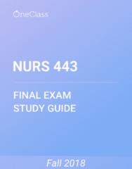 NURS 443 Study Guide - Comprehensive Final Exam Guide - Syndrome, Fever, Tobacco Smoking