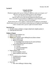 PSYC 208 Lecture Notes - Lecture 8: Palliative Care, Futile Medical Care, Curative Care