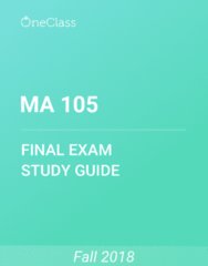 MA 105 Study Guide - Comprehensive Final Exam Guide - Trigonometric Functions, Sine, Test Cricket
