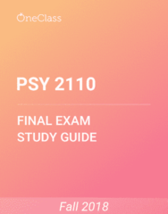 PSY 2110 Study Guide - Comprehensive Final Exam Guide - Memory, Social Psychology, Psychology