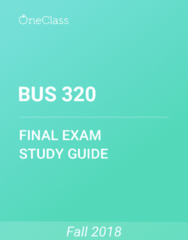BUS 320 Study Guide - Comprehensive Final Exam Guide - Time, Interest Rate, Inflation
