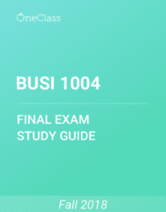 BUSI 1004 Study Guide - Comprehensive Final Exam Guide - Retained Earnings, Income Statement, Balance Sheet