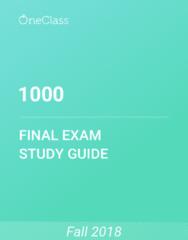 1000 Study Guide - Comprehensive Final Exam Guide -