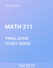 MATH 211 Study Guide - Comprehensive Final Exam Guide -