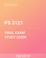 PS 3121 Study Guide - Comprehensive Final Exam Guide - Confidence Trick, United States Army, Tripura