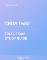 CRIM 1650 Study Guide - Comprehensive Final Exam Guide - Criminal Justice, Canada, Criminal Law