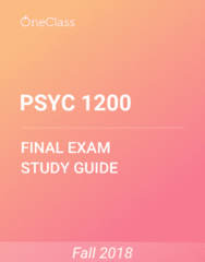 PSYC 1200 Study Guide - Comprehensive Final Exam Guide - Memory, Anxiety, Arousal
