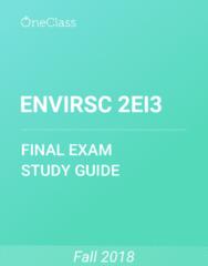 ENVIRSC 2EI3 Study Guide - Comprehensive Final Exam Guide - Ecosystem, Canada, Agriculture