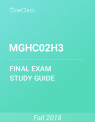 MGHC02H3 Study Guide - Comprehensive Final Exam Guide - Ford Focus, Time, Medicine