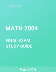 MATH 2004 Study Guide - Comprehensive Final Exam Guide -