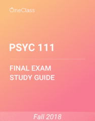 PSYC 111 Study Guide - Comprehensive Final Exam Guide - Memory, Cerebral Cortex, William James