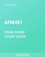 AFM481 Study Guide - Comprehensive Final Exam Guide - Atomic-Force Microscopy, Variable Cost, Fixed Cost