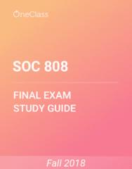SOC 808 Study Guide - Comprehensive Final Exam Guide - Whole Foods Market, Vegetable Oil, Sugar