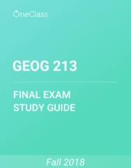 GEOG 213 Study Guide - Comprehensive Final Exam Guide -