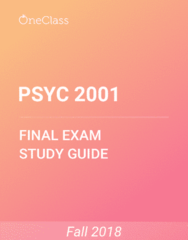 PSYC 2001 Study Guide - Comprehensive Final Exam Guide - Canada, Working Memory, Variety Show