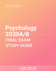 Psychology 2030A/B Study Guide - Comprehensive Final Exam Guide - Psych, Major Depressive Disorder, Anxiety