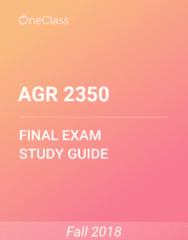 AGR 2350 Study Guide - Comprehensive Final Exam Guide -