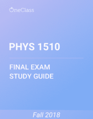 PHYS 1510 Study Guide - Comprehensive Final Exam Guide - Euclidean Vector, Cartesian Coordinate System, Acceleration